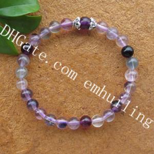 10pcs naturali bracciali elastici in fluorite meditazione chakra arcobaleno pietra fluorite braccialetto 6mm perline pietra preziosa guarigione cristallo braccialetto yoga