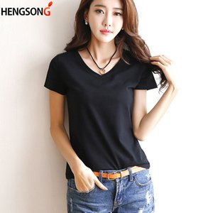 2018 Summer T-shirt V-Neck   Round Neck Women's Short Sleeve Black   White Solid Color Simple Women T Shirt Casual Tee Shirt Top
