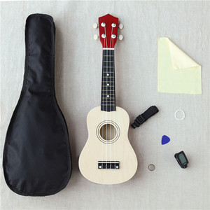 Wholesale 21 Inches Beauty Uicker Beginner Ukulele Ukelele Soprano Case Tuner Musical String Travel Hawaiian Guitar Music Instruments