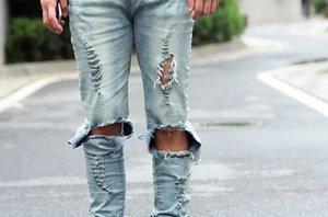 Herren Hellblau Schwarz Ripped Skinny Distressed Destroyed Slim Jeans Hose mit Löchern Herren Designer Wholesale Jeans