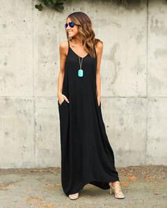 Eleganti abiti maxi di un pezzo estremamente popolari Europa e Stati Uniti Estate Donna Cintura irregolare Collo Tasche Gonne lunghe