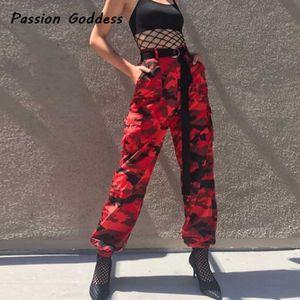 Moda Europeia Mulheres Camo Vermelho Calças De Carga HipHop Dança Camuflagem Vermelha Calças Femme Jean Calças Pantalon Mujer