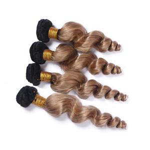 Perulu Bal Sarışın Ombre İnsan Saç Paketler Gevşek Dalga Dalgalı # 1B / 27 Koyu Kök Açık Kahverengi Ombre Virgin İnsan Saç Dokuma Uzantıları