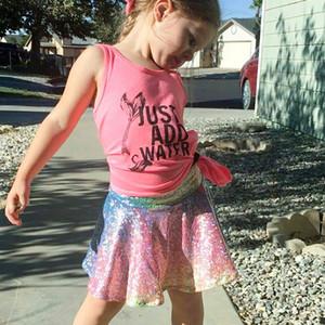 Faldas de sirena de los bebés Nuevas lentejuelas de la manera de los niños Arco iris Tu tu faldas Vestido de verano infantil Princesa de las muchachas falda