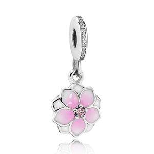 Fleur peinte rose pangle de charme unique charme Bele Big Hole Mode Femmes bijoux Style européen pour bricolage bracelet collier