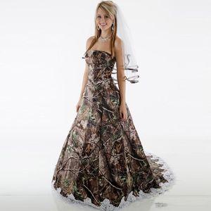 Elegant Camo Wedding Dresses Strapless Appliques Camouflage Country Backless Wedding Gowns Brush Train Bridal Dresses robe de mariée