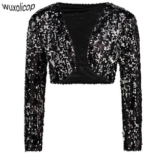 Mujeres de la vendimia recortada Blazer Bolero Shrug Clubwear trajes de fiesta de lentejuelas brillantes con cuello en v chaleco corto chaqueta de chaqueta de punto sexy