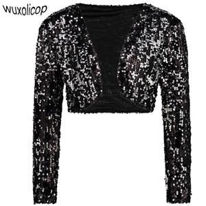 Vintage Frauen beschnitten Blazer Bolero Shrug Clubwear Party Kostüme Shiny Pailletten V-Ausschnitt kurze Weste Sexy Cardigan Jacket Coat