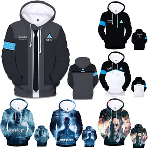 2018 New Detroit Becomes Human Casual Fleece Hooded Women Men's Hot Games Hat Fall Winter Hoodie Sweatshirt 3D Clothing Plus Size 4XL
