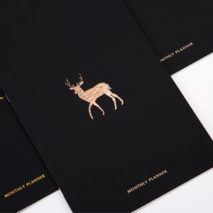 2019 Agenda A4 Metallic Gilding Deer Bird Horse Schedule Monthly Planner Kawaii Stationary School Papeleria Organizer Notebook