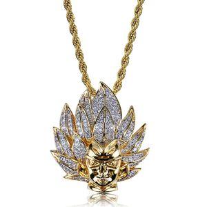 الهيب هوب لون الذهب مطلي مثلج خارج مايكرو تمهيد الزركون سوبر سايان أنيمي قلادة حرف قلادة مع 24 بوصة سلسلة حبل