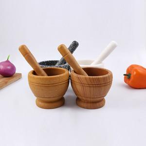 Mortier et cuisine au pilon Moulins à l'ail Pounder Cuisine Moulins à l'ail Pot de mélange Poivre au poivre Herbe broyeur à mortier