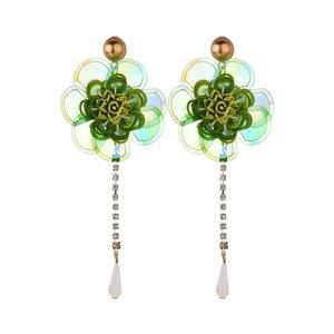 Цветы блестки капли воды сверла кистями Лонг-Бич ветер серьги на крючках люстра