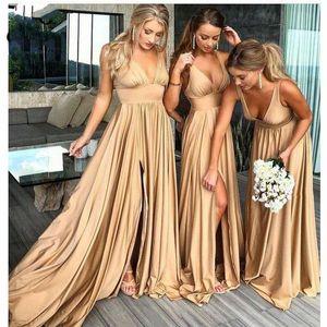2019 Превосходное платье свадебное платье для шампанского платья подружек невесты длинные глубокие V-образные шеи бак блестящий атлас драпированные женщины невесты платья с разделением
