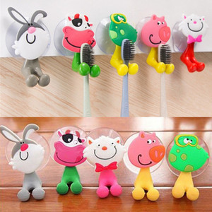 Cartoon Animal Sucker Hook Más reciente 3D cepillo de dientes de pared titular linda ventosa ganchos baño 5 diseños AAA159