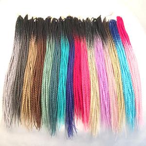 합성 꼬기 머리 선염 Senegalese 트위스트 24 인치 두 톤 크로 셰 뜨개질 꼬기 합성 머리 확장 사용자 정의 색상