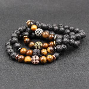 Black Lava Rock Stone Bracelet Strand Bracelet Micro Pave CZ Zircon Energy Chakra Bracelet