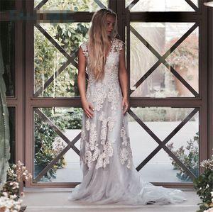 Setwell Ivory кружева линия свадебные платья Sexy V шеи развертывающие поезд страны Свадебные платья пользовательские шапки рукава плюс размер свадебное платье