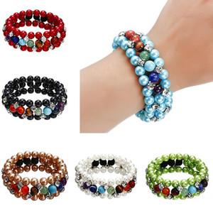 Multilayer Pearl 7 Chakra Yoga Bracelet Lava Stone Oil Diffuser Bracelet Bangles Fashion jewelry for Women Drop Shipping