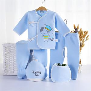 5PCS de la ropa del recién nacido muchachas de los bebés 100% algodón súper suave Inc 1 superior 2 pantalones 1 1 babero y el sombrero
