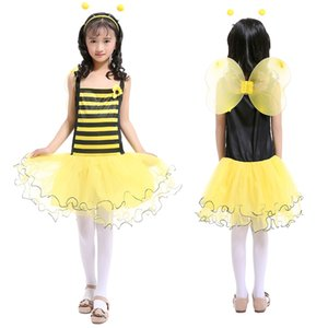 Little Bee Girls Siling Dress Yellow Yarn Patchwork Tutu Skirt with Yellow Wing+Headband Princess Dress Suits Halloween Kid's Costume