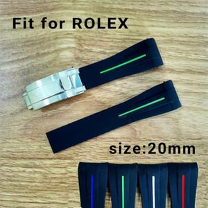 Calidad superior de la correa de reloj de 20 mm en forma para relojes SUB / GMT suave impermeable durable bandas con plata original del corchete del acero