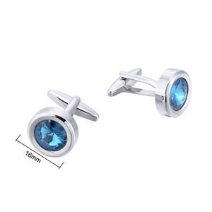 Boutons de manchette en cristal bleus ronds de mode, boutons de manchette de bijoux de fausse pierre