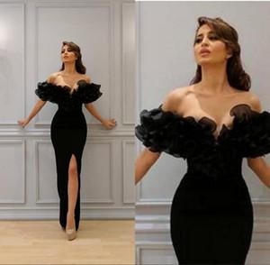 Arabisch Sexy Meerjungfrau Abendkleider Off-Shoulder Sleeveless Trompete Sheer Abendkleider Prom Party Kleider vestidos de novia