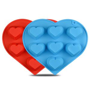 29 * 26 * 3 СМ DIY 7 ОТВЕРСТИЯ Силиконовый гель в форме сердца DIY Формы для пирога ручной работы Силиконовые формы для шоколада Случайный цвет JSC1312