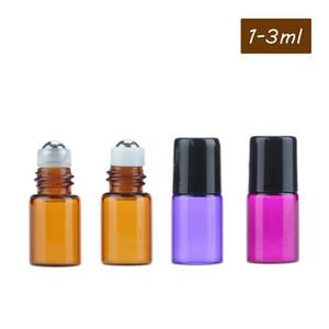 Amber Glass Roll on Bottle Perfume Botellas de aceite esencial 1 ml 2 ml 3 ml de vidrio / acero Perla transparente / Milky titular blanco Walk Bead Bottles