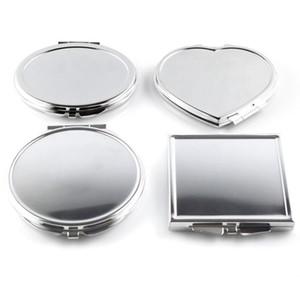 Großhandel-CN-RUBR Verschiedene Formen Tragbarer Klappspiegel Mini Compact Edelstahl Metall Make-Up Kosmetische Taschenspiegel Für Makeup Tools