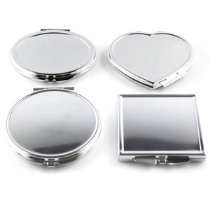 Wholesale- CN-RUBR 각종 모양 휴대용 접히는 거울 소형 조밀 한 스테인리스 금속 메이크업 메이크업 도구를위한 화장 용 주머니 거울