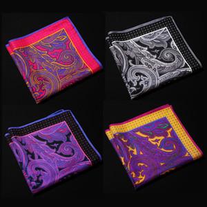 Ng Paisley Floral Handkerchief 100% Natural Silk Satin Mens Hanky Fashion Classic Wedding Party Pocket Square