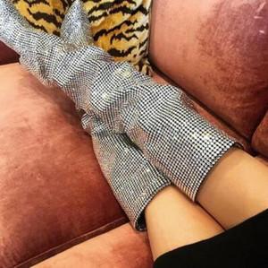 2018 Super Hot Mulheres De Cristal De Luxo Sobre As Botas Até o Joelho Botas de Salto Alto Dedo Do Pé Sexy dedo Dedo Botas de Moda Cavaleiro