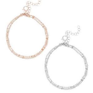 FAMSHIN Braccialetti estivi braccialetti Dainty Double-Layer Satellite Chain Bracciale oro regalo di nozze