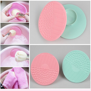 100Pcs Silicone Makeup Brush Sucked type cosmetic brush Cleaner Cleaning Scrubber Board Mat washing tools Pad Hand Tool