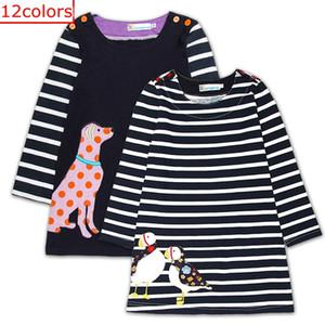 Día de Pascua para niños Animal Fox Vestido de conejito Apliques Ropa Chica Vestido de manga larga lindo 100% algodón Vestido de diseñador a rayas para niños 12Colores