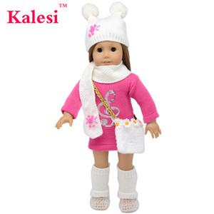6 Pièce 18 pouces fille vêtements accessoires poupée pull robe chapeau sac - 18 pouces vêtements de poupée accessoires ensemble