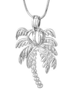 18KGP Gaiolas De Medalhão De Palmeira De Coco, Gema de Pérola Gota Talão Pingente Gaiolas, DIY Moda Jóias Fazendo 5 pcs CP033