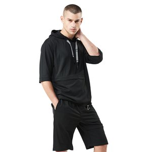 FUMUD 2018 Hot Selling Fashion Summer Sets Men Casual Tracksuit T Shirt+Shorts Two Piece Trainingspak Solid Hooded loose Suit