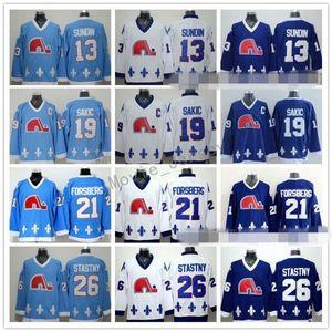 Quebec Nordiques Jerseys Hockey sobre hielo 13 tapetes Sundin 21 Peter Forsberg 26 Peter Stastny 19 Joe Sakic Team Color Azul marino Blanco