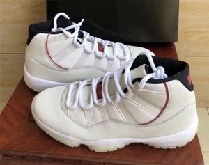 2018 Release 11 Platinum Tint 11S Zapatillas de baloncesto Sneakers para hombres Real Carbon Fiber Leather Ven con Box 378037-016