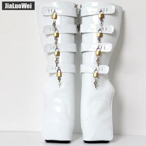 """Yeni BDSM Adam Bale Boots 18 cm / 7 """"Süper Yüksek Topuk Takozlar Toynak Topuk Moda Seksi Fetiş Slave 8 tuşları Kilitlenebilir Pony Diz ..."""