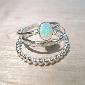 3pcs Sparkling Solid Sterling Silver Natural Gemstone Fire Opal Diamond Ring Set Wedding Engagement Jewelry