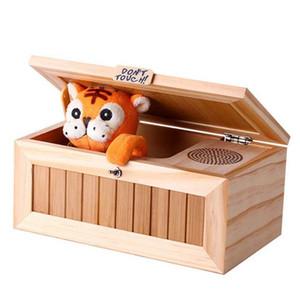 나무 전자 쓸모없는 상자 소년과 아이를위한 귀여운 호랑이 재밌는 장난감 선물 대화 형 장난감 스트레스 감소 책상 장식