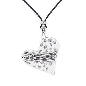 1pcs Antique Silver Large Abstract Charms Heart Pendant Collar Black Faux Suede Leather Rope Chain Necklace Jewelry