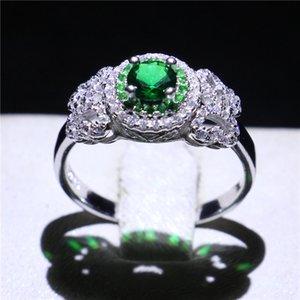 حقيقي 925 الفضة الاسترليني الزفاف الاشتباك خاتم ماركة الزمرد تشيكوسلوفاكيا الأبدية مجوهرات للنساء الذكرى هدية الحجم 5-10