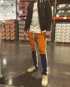 Yeni gündelik eşofman erkek hiphop jogging yapan parça pantolon Sportwear pantolon fermuarı iç fermuarlı yan colourblocked