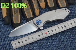 ZT нулевой допуск 0456 высокое качество Zt0456 100% подшипник реального D2 TC4 титанового сплава черный + серебро ZT складной нож бесплатная доставка