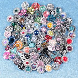 Atacado 50pcs / lote misto de Metal 18 milímetros botão Snap Metal jóias Rhinestone tirar encantos Botão para DIY Jóias